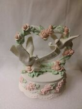 "Heart-Shaped, Roses,Doves & ""Best Wishes""Cake-Type Base. San Francisco Music Box"