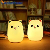 USB Silicone Cat LED Animal Night Light Soft Cartoon Baby Lamp Color Changing