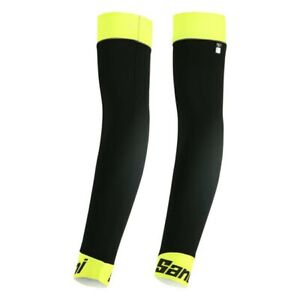 Santini 365 Cycling MID Hotwind Arm Warmers in Flouro Yellow Size XL/XXL