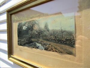 ANTIQUE WALLACE NUTTING FRAMED HAND TINTED PHOTO PRINT PENCIL SIGNED