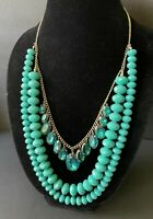 VTG. layered green graduated prong set dangle rhinestone faceted bead necklace