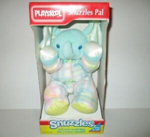 """Playskool Plaid Elephant """"Snuzzles"""" Plush Stuffed Animal NEW Vintage"""