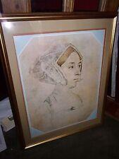 "Hans Holbein Anne Boleyn Print Matted Gold Gilt Frame 24"" by 30"" Stunning Minty"