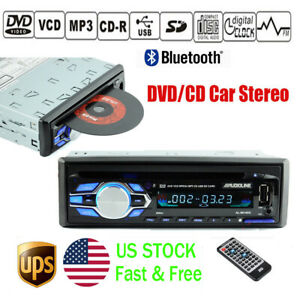 Single 1 Din Car DVD CD MP3 Player Audio Stereo USB/AUX/SD FM BT In-dash Radio