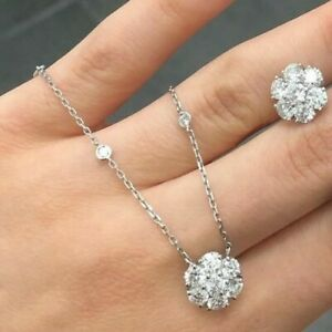 Modern 0.91Ct Diamond 14K white Gold Flower cluster Pendant Necklace /Dia chain