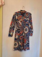 Vtg 60s Psych Print Long Sleeve Dress Sz S Paisley Mock Neck Belt midi gogo ooak