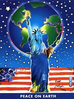 PETER MAX POSTER- PEACE ON EARTH- 18 X 24- #9 PRINT SIGNED