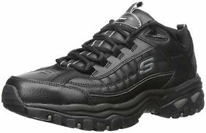 Skechers Mens Energy-After Burn Low Top Lace Up Running Sneaker, Black, Size 8.5