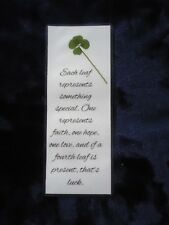 Real Genuine Four 4 Leaf Clover Laminated Lucky Charm Bookmark Shamrock (17)