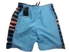 Nike Mens Cargo Swim Trunks Board Shorts Medium Lt Blue Stripes Polyester NEW