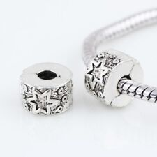 Star Silver Plated Clip Stopper Charm Spacer Bead Fits European Charm Bracelets