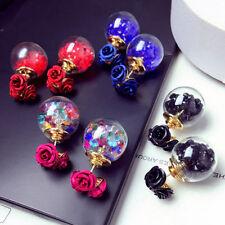 Korean Flower Crystal Ball Ear Stud Earrings Gift Fashion Women's Double Sides