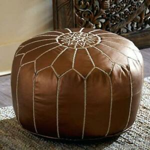 Moroccan Pouf Ottoman Bronze - Handmade & Hand Embroidered Footstool (Unstuffed)