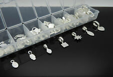 70pcs Mix Style Silver Plated Oval Glue on Bail Earring Bails Tile Pendant Charm
