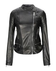 Women Genuine Lambskin Biker Black Leather Motorcycle Classic Motorbike Jacket