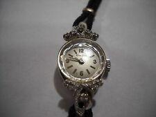 Vintage 14k White Gold Ladies Bulova Watch w/ 10 Small Diamonds