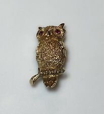 Yellow Gold Owl Brooch/Pin With Pink Ruby 🦉