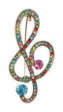 Broche clave de sol estrás cristal multicolor, acero doré. Música