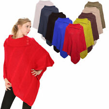 NEW LADIES WOMENS THREE BUTTON PONCHO CAPE WARM KNITTED SHAWL TUNIC GIRLS JUMPER