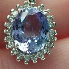 "4.5TCW Light Purple Tanzanite Diamond Halo 14k white gold pendant 19"""