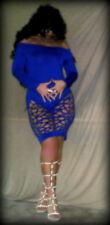 Schönes Damen-Partykleid Bodycon Cut-Outs Schulterfrei Mini Blau Gr. 38/M