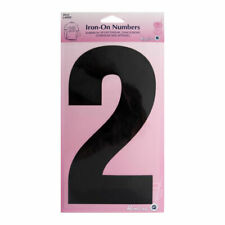 Hemline Iron-On Number 2 Suitable for Sport, dance, and Gym Wear | 20cm | Black