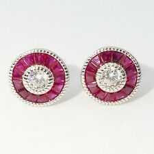 Art Deco Ruby & Diamond 14K White Gold Over Solitaire Stud Earrings Gift For Her
