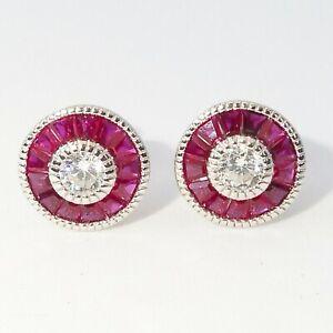 Art Deco Ruby & Diamond 14K White Gold Over Solitaire Stud Earrings Gift For Her