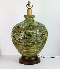 Mid Century Pottery Lamp Fat Lava Glaze Green Asian Look Frothy Vintage