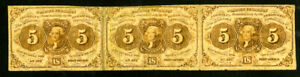 US Paper Money 1862 5c Fractional Strip of 3 NO RESERVE!