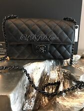 NWT CHANEL 2017 Classic Mini Flap SO BLACK Calf/Caviar Rectangle MADE IN FRANCE