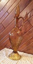 Vintage Amber Glass Art Hand Blown? Tall Pitcher Decanter 20 1/2