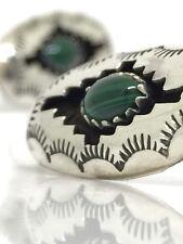 VINTAGE Platero Native American 925 Sterling Silver & Malachite Earrings 2.88g