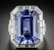 Solid 925 Silver With 33.00ct No-Heat Ceylon Sapphire & CZ Engagement Women Ring