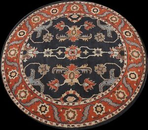 Navy Blue Floral Traditional Oriental Area Rug Hand-Tufted Wool 6x6 Round Carpet