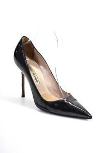 Manolo Blahnik Womens Patent Leather Pumps Black Size 38