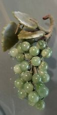 JADE GREEN STONE ROUND GRAPE CLUSTERS WITH STONE LEAVES WITH STEM