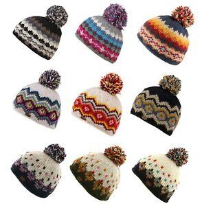 Kusan 100% Wool Multi-Colour Bobble Hat Choice of Colours PK1605/PK1822/PK2001
