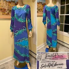 Vintage EMILIO PUCCI for Saks Signature Size 8 Silk Jersey Blue Green Long Dress