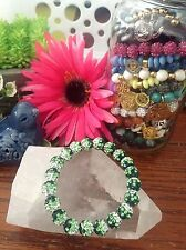 "New 8"" Light & Dark Green w/ White Rustic Shimmer Cuff Crystal Ball Bracelet"