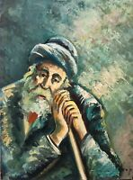"Jewish Art Oil Painting By Artist Ben Haim ""Rabbi"" impressionistic canvas 17x22"