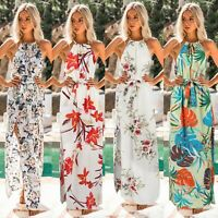 Fashion Womens Sexy Halter Slit Floral Dresses Lady Summer Holiday Strappy Dress