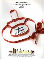 ▬► Parfum Perfume HERMÈS Ruban Rouge Original French Print ad Publicité 1989