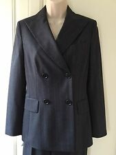 Jesire Double Breasted Blue Pinstripe Trouser Suit - Size 8 Jkt / Size 10 Trs