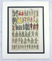 1895 Antico Stampa Svizzera Costume Abito Moda Mezzo Età 13th C
