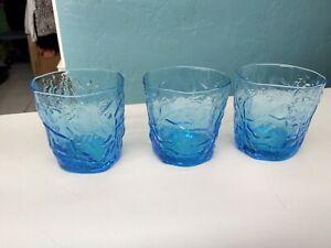 Vintage MCM Blue Morgantown Seneca Driftwood Glasses Set of 3