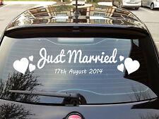 Appena Sposato PERSONALIZZATO AUTO POSTERIORE VETROFANIA-Amore, Matrimonio, romanze, REGALO