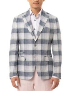 Tallia Orange Men's Slim-Fit Plaid Linen Sport Coat (Navy, 44 LONG)