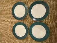 Ten Strawberry Street Ltd Set Of 4 Salad Plates Halo Green Rim