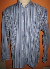 J Crew Blue Striped Cotton Long Sleeved Shirt 17 17 1/2